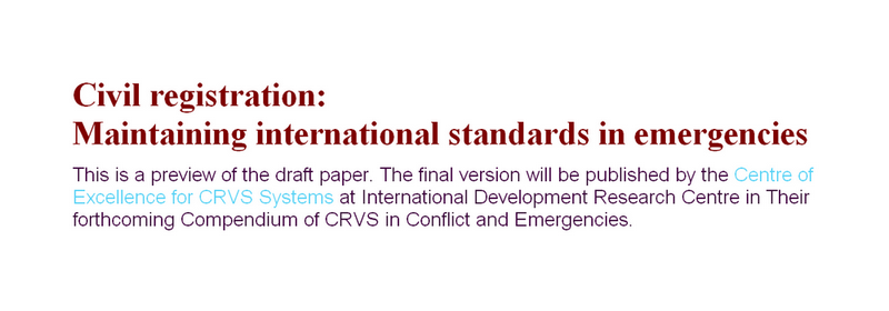Civil registration: Maintaining international standards in emergencies